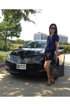 black goyard bag - black Zara shorts - black Zara heels - blue Michael Kors top