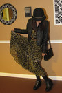 black Forever 21 jacket - olive green H&M dress - black Nordstrom tights - black