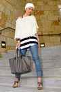 cream Forever 21 cardigan - blue bench jeans - black Tart top - gray tory burch