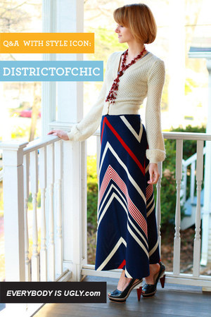 navy vintage skirt