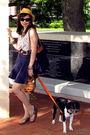yellow Callanan hat - blue American Apparel skirt - white Michael Kors blouse -