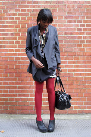 gray vintage jacket - red Uniqlo tights - black The Scarlet Room top - RARE skir