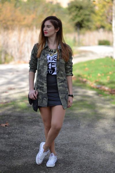 green Zara shirt - white Converse sneakers - black H&M skirt