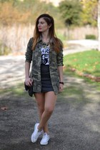 green Zara shirt - white Converse sneakers - black H&M skirt