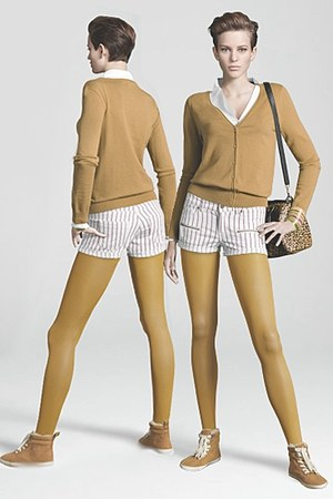 mustard H&M tights - white H&M shorts - mustard H&M cardigan