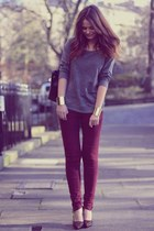 dark red jeans