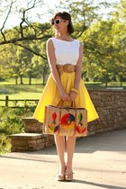 bright yellow skirt