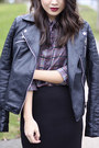 Black-motorcycle-zara-jacket-purple-plaid-prada-shirt
