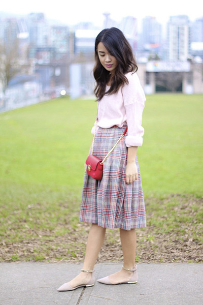 plaid wool Pendleton skirt - pink H&M sweater - small Forever 21 bag