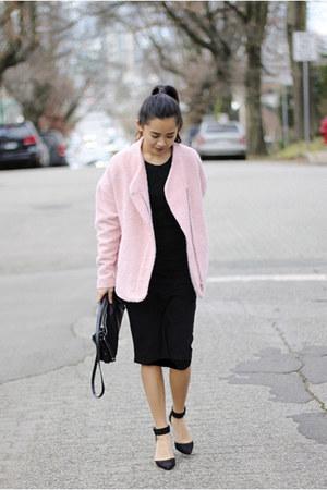 Zara coat - Forever 21 dress - Zara purse - ankle strap Zara heels