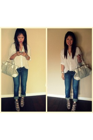 heather gray sam edelman wedges - blue Vigoss jeans - white H&M shirt