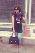 multi color david & young scarf - suede Mossimo boots - black Sugarlips top