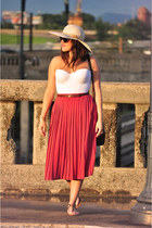 brown Forever21 sandals - straw floppy david & young hat