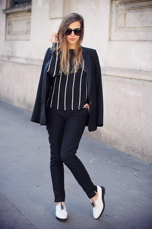black Mango jacket - black Mango pants