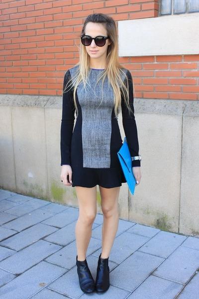 silver nixon watch - black H&M dress - sky blue asos bag