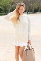 white Zara skirt - ivory Mango sweater - silver Tous ring