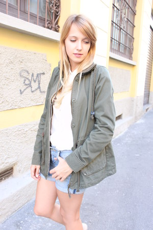 dark khaki Zara jacket - white Zara shirt - blue Levis shorts