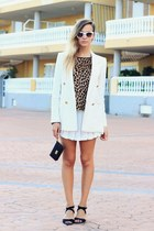 white Zara skirt - ivory Mango blazer - black Michael Kors wallet