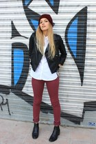 black asos jacket - brick red Zara hat - white Zara shirt