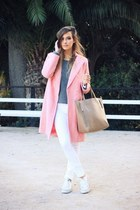 white Mango jeans - bubble gum OASAP coat - heather gray Zara sweater