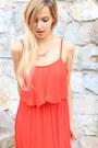 Red-oasap-dress-black-mango-sandals-bronze-h-m-necklace