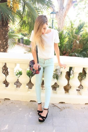white Zara t-shirt - aquamarine Zara pants