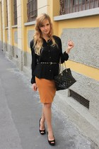 black Purificacion Garcia bag - black H&M belt - tawny Zara skirt