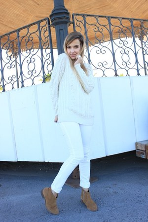 white Mango pants - ivory Mango sweater