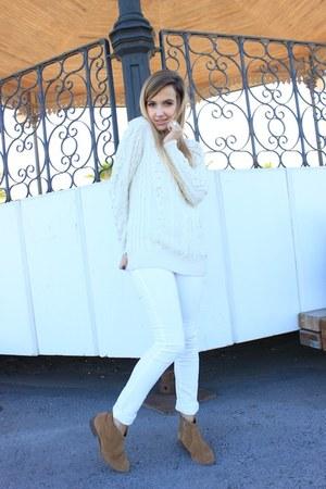 white Mango pants - ivory Mango sweater