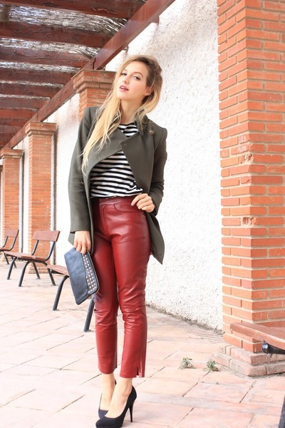 black Zara shoes - dark green Mango coat - white Zara top