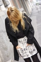 off white Zara skirt - black Zara coat - black Bershka jumper
