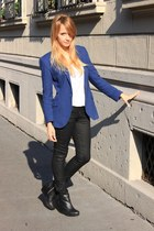 blue Zara blazer - black H&M boots - white Zara shirt - black H&M pants