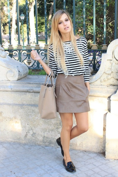 white Zara necklace - black Zara shoes - black Zara top - tan Zara skirt