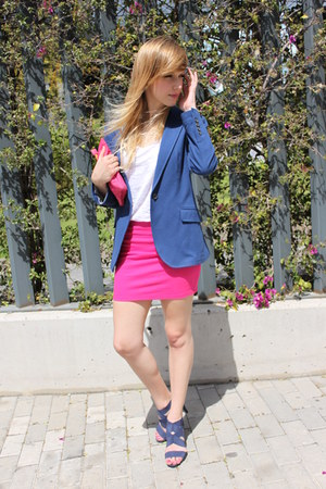 blue Zara blazer - hot pink Zara bag - hot pink Zara skirt - white Zara t-shirt