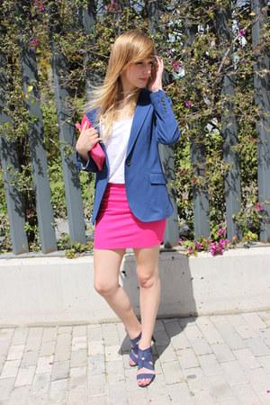 blue Zara blazer - hot pink Zara bag - hot pink Zara skirt - white Zara t-shirt