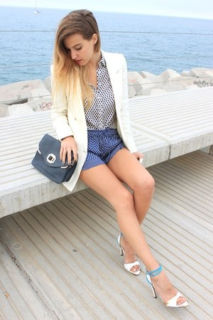 white Zara shirt - eggshell Mango blazer - navy Zara bag - navy Zara shorts