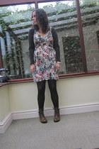 dark brown tesco boots - vintage dress