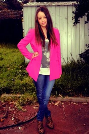 pink Forever New blazer - white cotton on t-shirt - blue Valleygirl jeans - brow