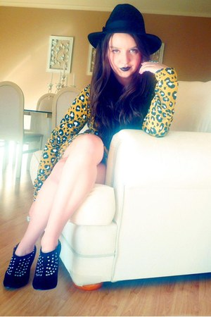 black Big W boots - yellow evil twin dress - black Temt hat - turquoise blue div