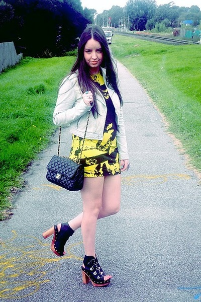 obesity and speed dress - denim Glassons jacket - Vintage Gifted Chanel bag - Sp