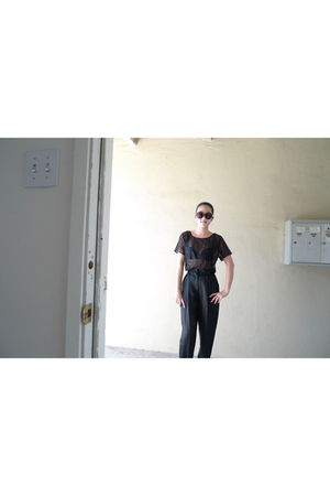 black American Apparel top - black McQ pants - brown Chanel glasses - black Pour