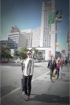 gray Helmut Lang jacket - black Siwy Denim jeans - red Miu Miu shoes - white t b