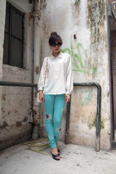 vintage shirt - white Chanel bag - black H&amp;M wedges - turquoise blue AIC pants