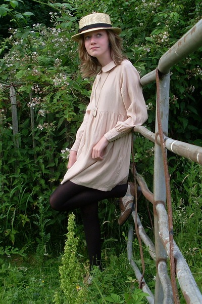 pink Urban Outfitters dress - beige Primark hat - brown Office shoes