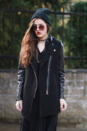 black Sheinside coat - black maxi Awwdorecom skirt