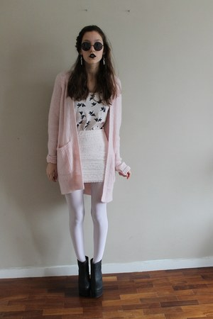 light pink H&M cardigan - light pink lace H&M skirt - black H&M wedges
