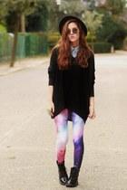 galaxy print chicwishcom leggings - denim Sheinsidecom shirt