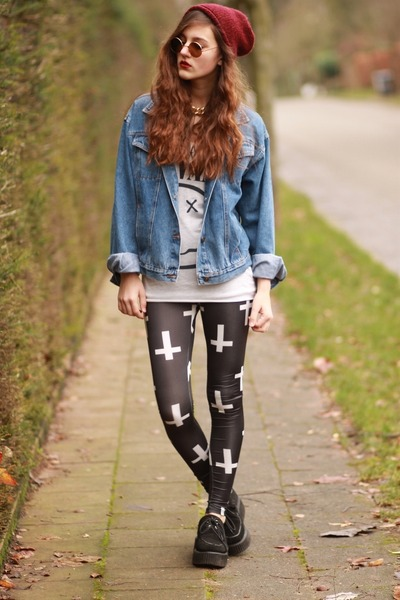 denim jacket - cross print Sheinside leggings