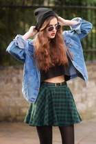 plaid chicwishcom skirt - shoes - denim jacket