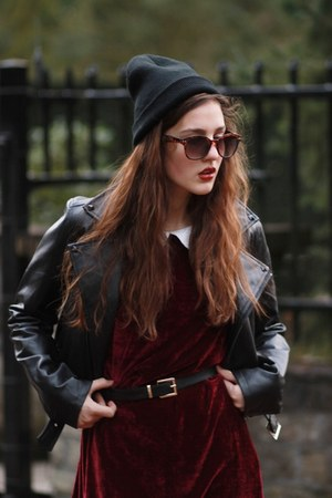 burgundy velvet OhMylove dress - leather Sheinsidecom jacket